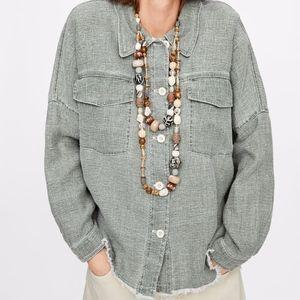 💕NWT Zara Light Khaki Linen Jacket With Pockets💕